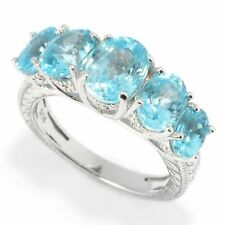 Victoria Wieck Collection Sterling Silver Oval Blue Zircon Gemstone Band Ring