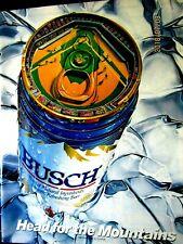"Busch Baseball Top Head For The Mountains 1988 Original Print Ad 8.5 x 11"""