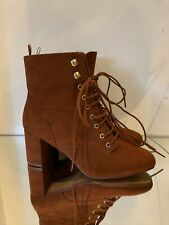 H&M BURNT BROWN LACE UP SQUARE HEEL BOOTS 5/38