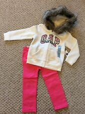 New w/Tags*GAP Brand Girl's Faux Fur Lined Hoodie w/Pink Jeans*Size 3 Years