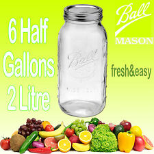 6 x Ball Mason Half Gallon 2 Litre Wide Mouth Jars and Lids BPA FREE Fermenting