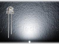 100 x LED 5mm straw hat PURWEIß 90-120° weiß Kurzkopf Flachkopf Ultrahell white