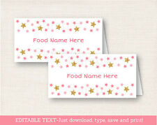 Twinkle Star Pink & Gold Buffet Tent Cards & Place Cards Editable PDF