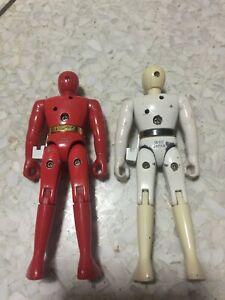 Ninja Sentai Kakuranger Red and White Figure Vintage Japan Metal mixed plastic