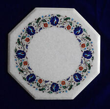 """18"""" Marble Corner Table Top Lapis Inlay Floral Art For Home Decor And Garden"""
