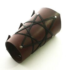 Brown Leather Vambrace Gaunlet Cuff Wristband Steampunk-Reenactment Arm Guard