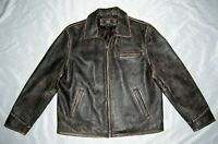 Route 66 Large Leather Bomber Jacket Brown Men's