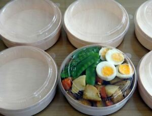 BentoStyle Wooden Bento Box Round 155mm - Takeaway Container with Lid, pack 300