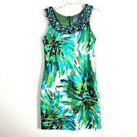 NEW Rabbit Design Women Floral Dress Size 8 Beaded White Green Sleeveless 34K