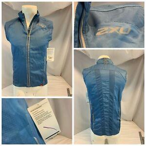 2XU Vapor Mesh 360 Run Vest Jacket XS Men Blue Poly Full Zip NWT YGI G1-267