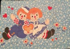VINTAGE RAGGEDY ANN & ANDY DOLLS PILLOWCASE HEARTS VALENTINES DAY I LOVE YOU