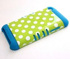 iPod Touch 4th Gen - HARD & SOFT SILICONE HYBRID CASE TEAL BLUE GREEN POLKA DOTS