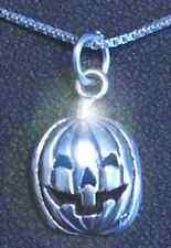 LOOK Halloween Pumpkin Face Jack-o'-lantern carving Sterling Silver 925 charm Je