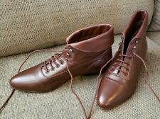 Poppies Womens Brown Leather Lace Up Ankle Pointy Toe Boots Sizes 7M