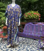 Vintage Caftan Maxi Dress Versace Look Liquid Mumu OS Blue Gold Chain