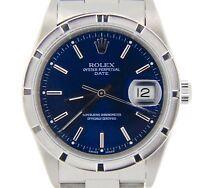 Mens Rolex Date Stainless Steel Watch Quickset Oyster Bracelet Blue Dial 15210