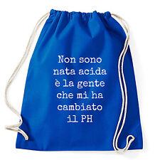 Art T-shirt, Zaino Non Sono Acida, Blu, Sacca Gym