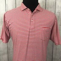 B. Draddy Men's Large Pink & Gray Striped Stretch Pima Cotton Polo Golf Shirt