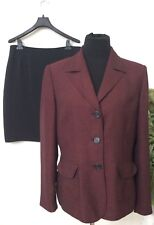 Suit Studio Women's Red Black Polyester Blend 2 Piece Skirt Suit Size 12 EUC