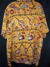 Disguys Hawaiian Lap Steel Guitar Bongo Yellow Button Up Shirt Men's 2XL