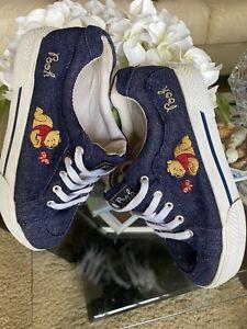 1990s Vintage DISNEY Winnie the Pooh Women's Shoes Sneakers Sz 7 Sparkle Oxfords