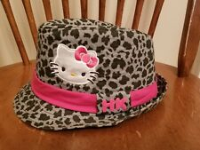 Sanrio Hello Kitty Fedora Hat Animal Leopard Print Gray Black Hot Pink One Size
