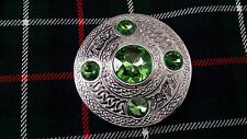 "Scottish Kilt Fly Plaid Brooch Parrot Stone Chrome Finish 4""/celtic Pin Brooches"