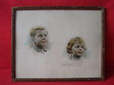 ANCIEN CADRE BOIS ET STUC VISAGE D' ENFANTS 31 x 25