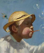 The Bubble Boy Paul Peel jóvenes pompas de jabón juego sombrero pfauenfeder B a3 03040