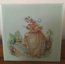 Vintage Gladding McBean & Co Hand Painted Hermosa Crinoline Lady Tile Green