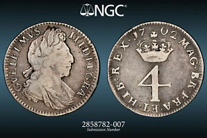 1702 WILLIAM III MAUNDY 4 PENCE: NGC FINE DETAILS CLEANED