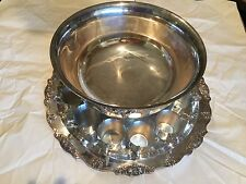 silver plated punch bowl including silver plated tray and 12 cups large size