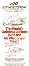 Airline Timetable - Air Wisconsin - 01/06/83 - BAe 146 Joins Fleet