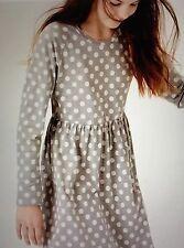 NWT 13/14 Mini Boden Johnnie B Gray Jersey Dress w/ White Dots