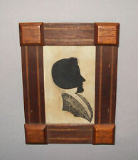 Antique 19th C 1830s Rare Hollow Cut Silhouette Young Gent W/ Block Printed Body