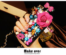 3D Flower Bling Crystal Perfume Bottle Back Case Cover Chain for IPhone Samsung