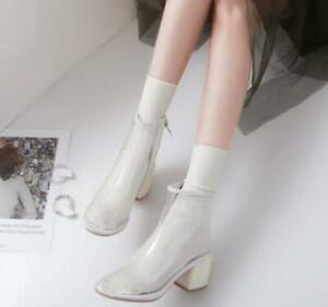 Ankle Boots Transparent Round Toe Block Med Heel Womens Pump Shoes Clear Party