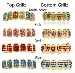 14K Gold Plated Multi-color Bling Out Teeth GRILLZ Top Bottom Tooth Caps Hip Hop