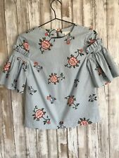 NEW H&M White Blue Stripe 3/4 Sleeve Floral Top Blouse 2 XS * RARE!