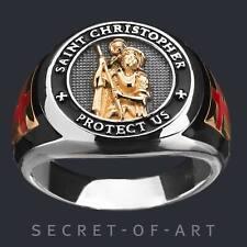 Sankt St Christopher Ring Heiliger Christopherus Silber 925 Gelbgold-Plattiert