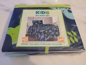3 Piece Kids Fitted Flat SHEET Pillow Case Set Jungle Dinosaur Blue