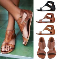 Ladies Womens Gladiator Sandals Summer Flat Flip Flop Open Toe Casual Shoes