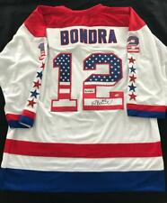 Peter Bondra Autographed Patriotic Jersey Bonzai Inscription Washington Capitals