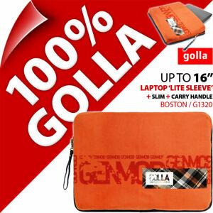 "Golla 16"" for 15.6"" 15.4"" Orange Laptop Lite Sleeve Bag Padded Carry Case Slim"