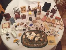 Large Lot of Vintage Miniature Doll House Furniture Kitchen Living Room Bathroom