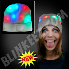 FUN! Light Up Blinking Flashing Head Beanie With Multicolor LEDs