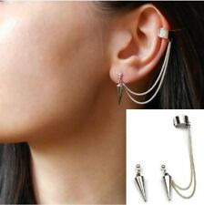 Punk Rock Rivets Chain Tassel Dangle Ear Stud Cuff Wrap Earrings Eardrop P29