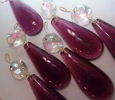 6 VTG PURPLE CZECH AURORA BOREALIS Crystal Bohemian TEAR DROP Prism Chandelier