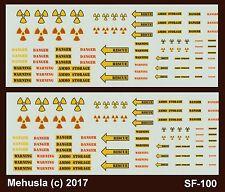 1/72 1/100 1/144 Decals SF-100 Warning Danger Radiation Ammo Storage Signs
