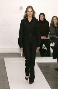 Balenciaga Archive Fall 2002 Black Wool Wide Leg Trousers Pants Belt Ghesquière